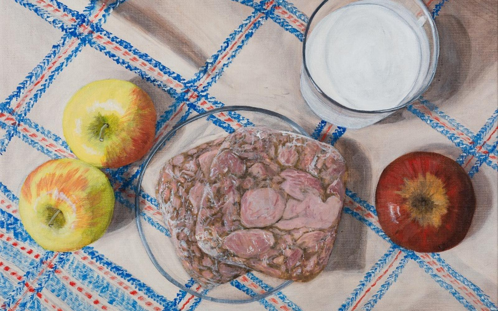 Laura Nitsche, Äpfel, Presskopf, Buttermilch 2 © Laura Nitsche, Bildrecht Wien, 2021