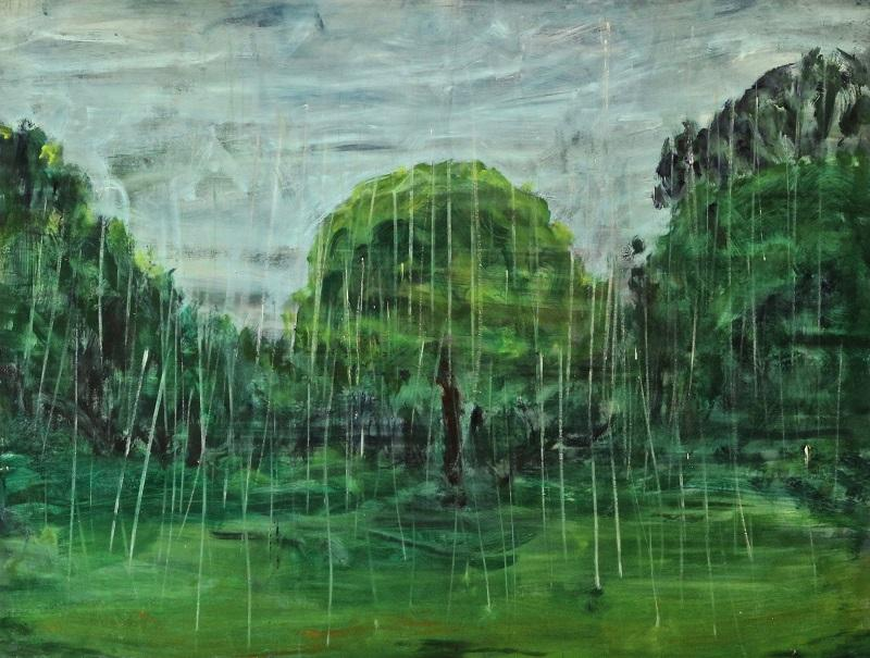 Ferdinand Melichar, Der Waldgänger nach Stifter, Öl auf Leinwand, 130x170 cm, 2021