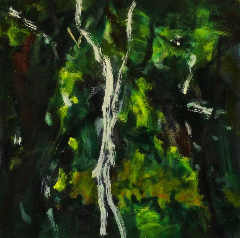 Ferdinand Melichar, Der Waldgänger nach Stifter, Öl auf Leinwand, 57x57 cm, 2021
