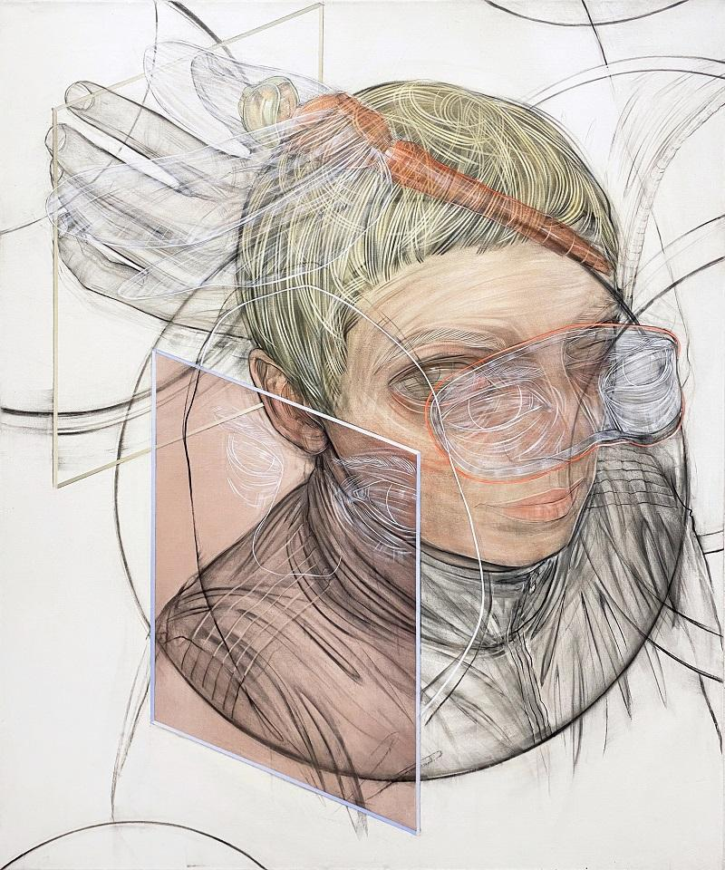 Stylianos Schicho, Waiting Game / part 4, Kohle / Acryl auf LW, 180 x 150, 2021