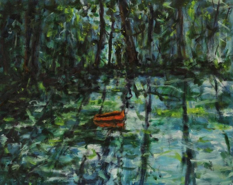 Ferdinand Melichar, Der Waldgänger nach Stifter, Öl auf Leinwand, 80x100 cm, 2021