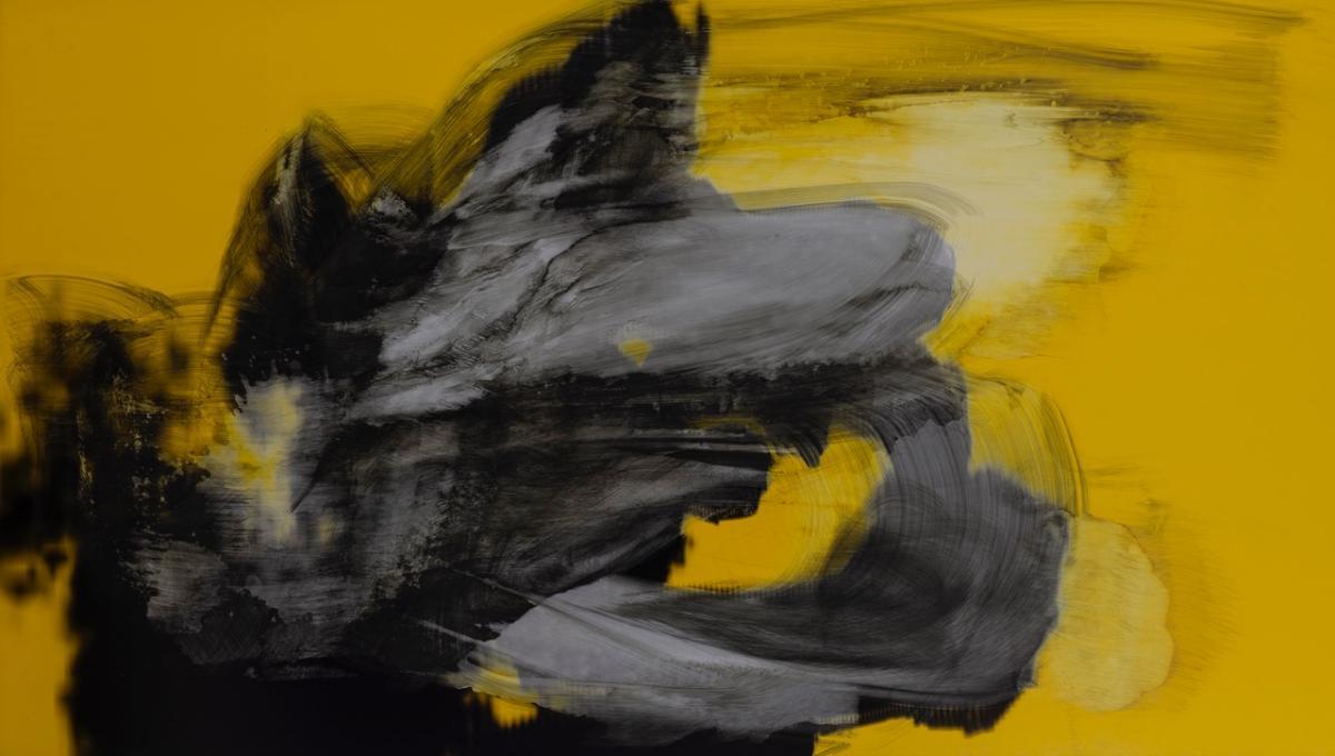 Max Piva, Achtung, Mixed Media auf d-bond, 110x196 cm, 2018