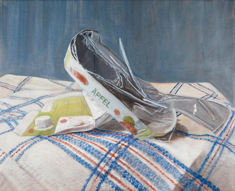 Laura Nitsche, Müllleben: Äpfel, Presskopf, Buttermilch, 2021, Öl auf Leinwand, 46 x 56 cm