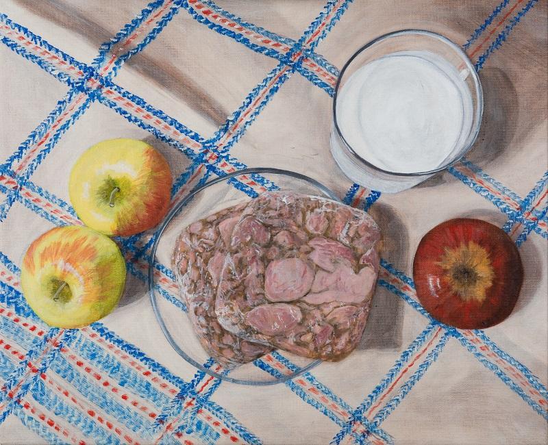 Laura Nitsche, Müllleben Äpfel, Presskopf, Buttermilch, 2021, Öl auf Leinwand, 46 x 56 cm