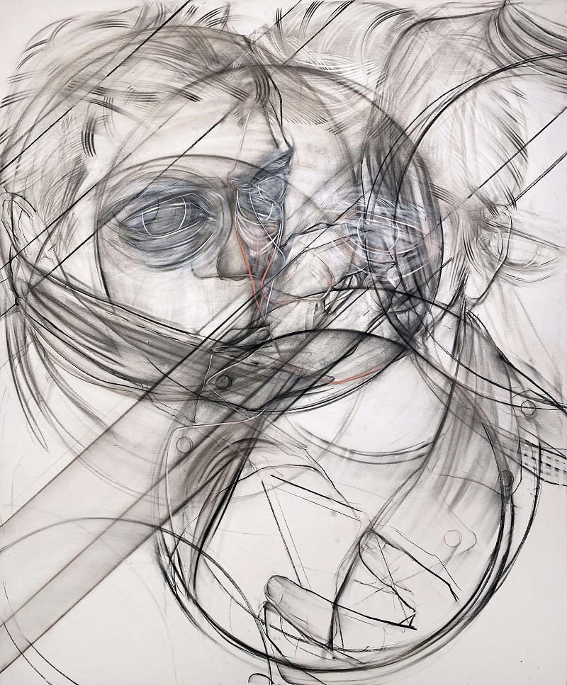Stylianos Schicho, Escalator 2, Kohle und Acryl auf LW, 2020, 180 x 150 cm, 2020