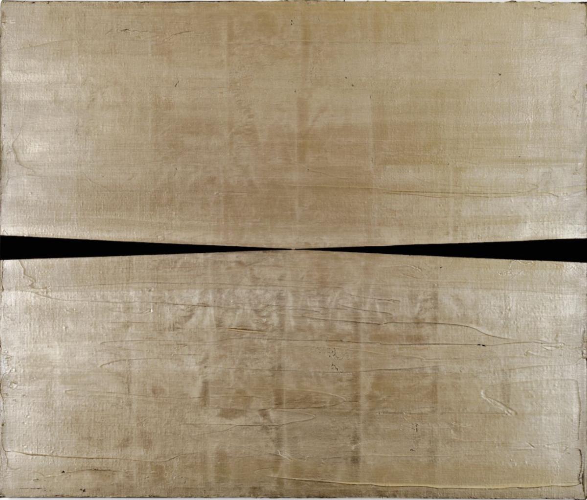 Pablo Griss, La Luna, 2018, 21 Karat Blattgold und Acryl auf Leinwand, 50 x 60 cm