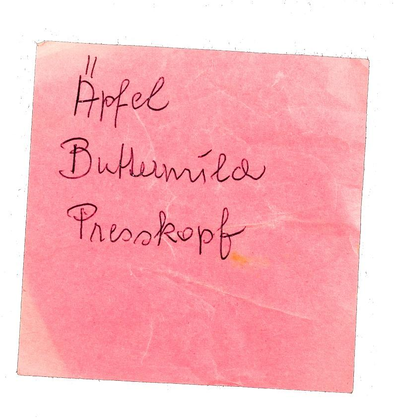 Laura Nitsche, Einkaufsliste Äpfel, Presskopf, Buttermilch  © Laura Nitsche, Bildrecht Wien, 2021