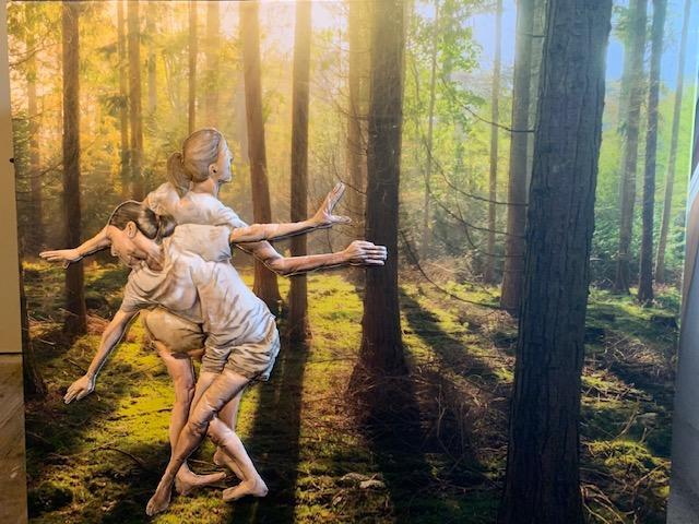 """Laura Nitsche, aus der Serie """"CoroNah - DisTanz"""", Papier und Stoff auf LW, 180 x 200 cm, 2021 © Laura Nitsche, Bildrecht Wien, 2021"""