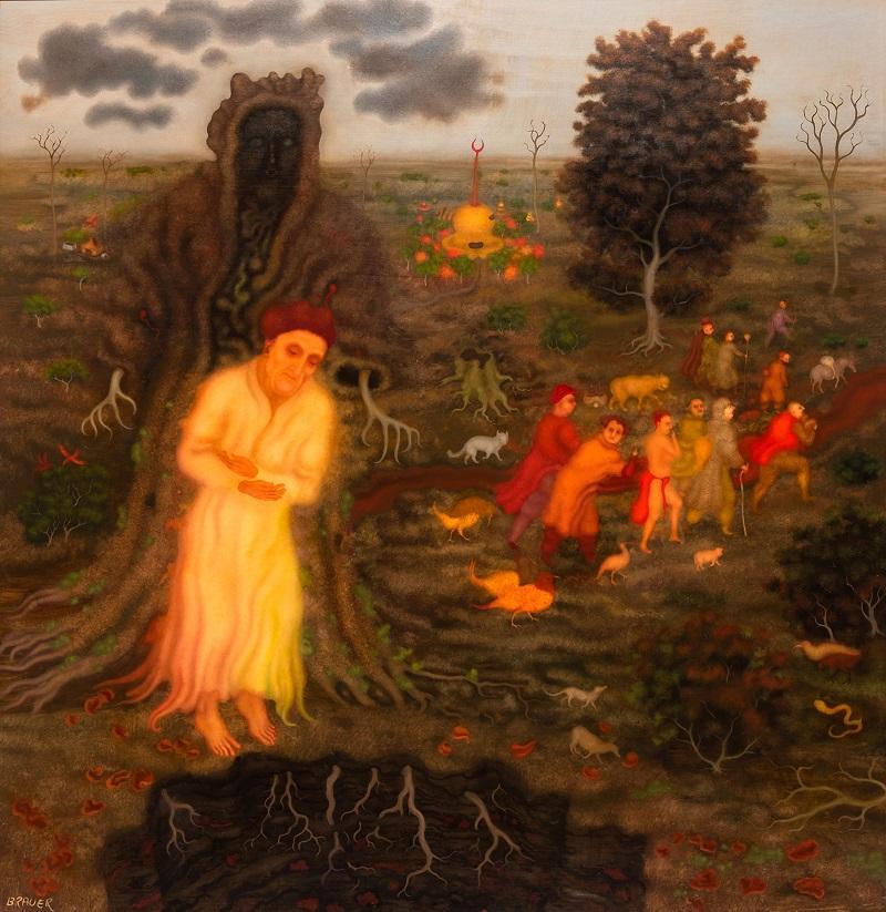 Arik Brauer, Jedermann mit dem Tod, 2019, 90 x 86 cm, Öl auf Platte © Galerie Weihergut, Wegenkittl