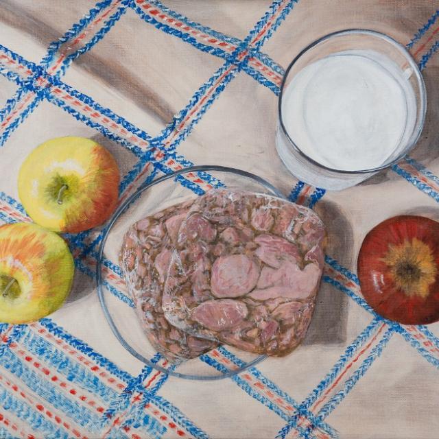 Laura Nitsche, Einkaufsliste Äpfel, Presskopf, Buttermilch 2 © Laura Nitsche, Bildrecht Wien, 2021