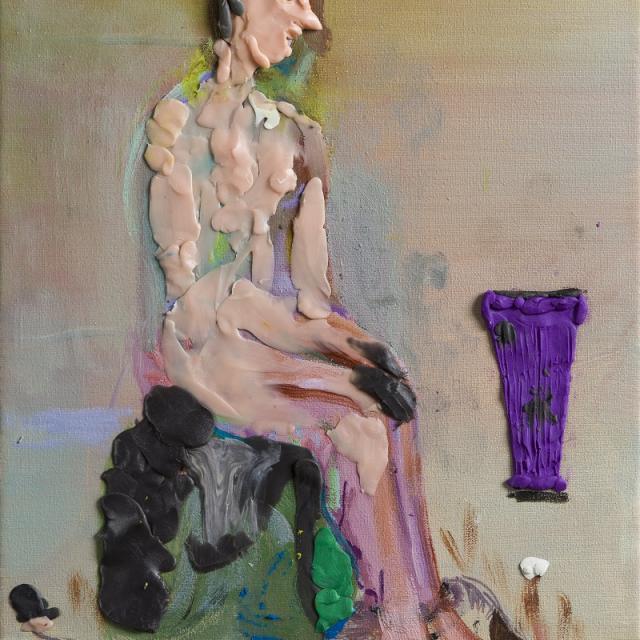 Ursula Hübner, Quality Time mit Vase, Öl und Plastilin auf LW, 2020