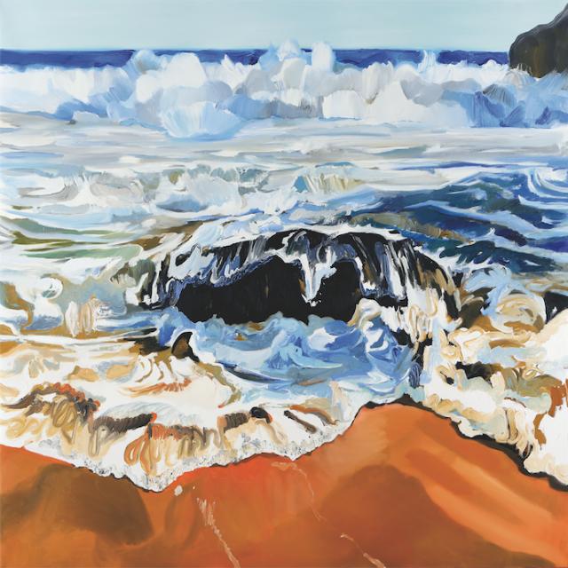 Laura Stadtegger, Indisches Wasser 1, 2016, Öl auf Leinwand, 160x160cm, Galerie Weihergut